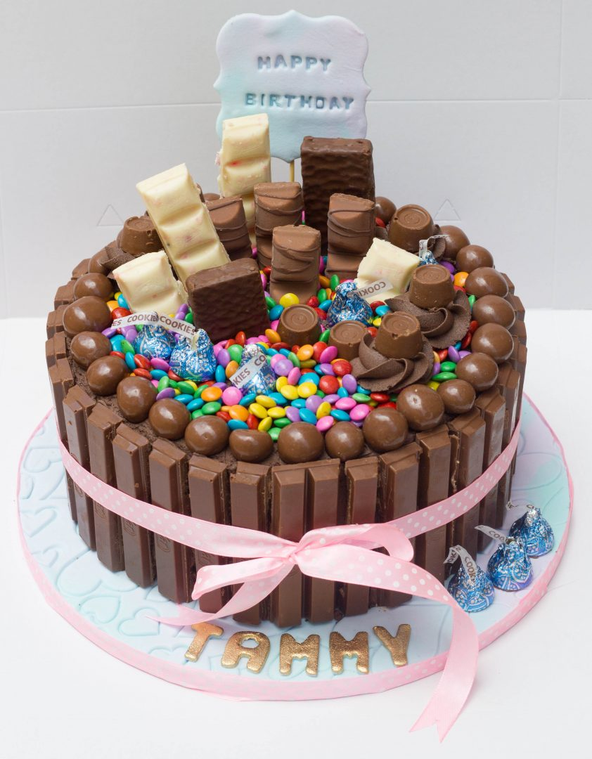 Chocolate Sponge Cake With Kit Kats Smarties Whispers Hersheys Kisses Kinder Joy And Flake